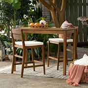 W. Trends 3-Pc. Acacia Wood Outdoor Bistro Set - Dark Brown