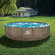 """Blue Wave 18' Round x 52""""D Wicker Frame Pool Package with Cover - Dark Cocoa"""