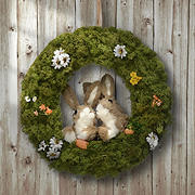 "National Tree Company 15"" Wreath with Rabbits"