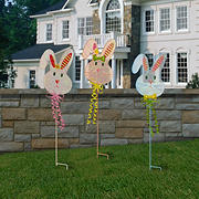 "National Tree Company 24"" Metal Easter Bunny Garden Stakes, 3 pk."