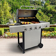 Kenmore 4-Burner Gas Grill with Side Burner Grill and Stainless Steel Lid