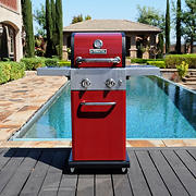 Permasteel 2-Burner Premium Compact Gas Grill with Folding Side Shelves - Red