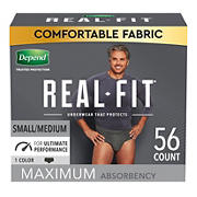 Depend Real Fit Incontinence Underwear for Men, S/M, Black, 56 ct.