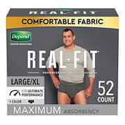 Depend Real Fit Incontinence Underwear for Men, L/XL, Black, 52 ct.