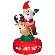Gemmy Airblown Animated Inflatable Reindeer Rodeo