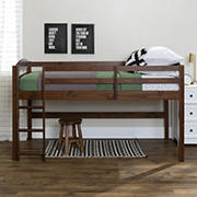 W. Trends Twin Solid Wood Youth Loft Bed with Integrated Ladder and Guardrails - Walnut