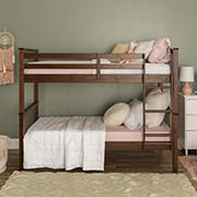 W. Trends Twin Over Twin Mission Style Solid Wood Bunk Bed Frame - Walnut