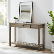 """W. Trends 48"""" Modern Farmhouse Single Drawer Entry Table - Gray Wash"""