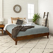 W. Trends King Transitional Solid Wood Platform Bed Frame - Walnut