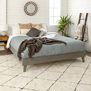 W. Trends Queen Transitional Solid Wood Platform Bed Frame - Gray Brush