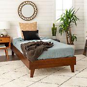 W. Trends Twin Transitional Solid Wood Platform Bed Frame - Walnut