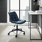 W. Trends Adjustable Height Modern Tufted Armless Swivel Office Chair - Navy