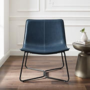 """W. Trends 30"""" Mid Century Modern Wide Seat Faux Leather Accent Chair - Navy"""