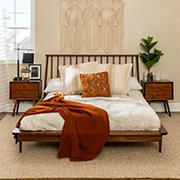 W. Trends Queen Boho Mid Century Modern Spindle Solid Wood Platform Bed Frame - Dark Walnut