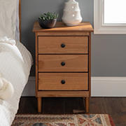 """W. Trends 25"""" Modern Transitional 3 Drawer Solid Wood Nightstand - Caramel"""