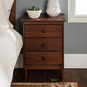 """W. Trends 25"""" Modern Transitional 3 Drawer Solid Wood Nightstand - Walnut"""