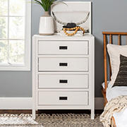 """W. Trends 40"""" Modern Classic 4 Drawer Solid Wood Dresser - White"""