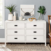 """W. Trends 57"""" Modern Classic 6 Drawer Solid Wood Dresser - White"""