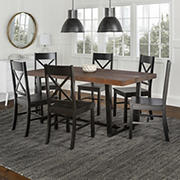 W. Trends 7 Piece Modern Farmhouse Solid Wood X Back Dining Set - Mahogany/Black