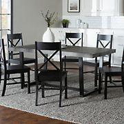 W. Trends 7 Piece Modern Farmhouse Solid Wood Dining Set - Black/Grey