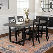 W. Trends 5 Piece Modern Farmhouse Solid Wood Dining Set - Black/Grey