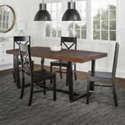 W. Trends 5 Piece Modern Farmhouse Solid Wood X Back Dining Set - Mahogany/Black