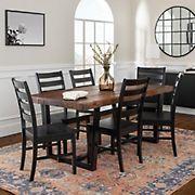 W. Trends 7 Piece Modern Farmhouse Solid Wood Dining Set - Mahogany/Black