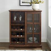"""W. Trends 36"""" Modern Transitional Sliding Glass Door Storage Bar Cabinet - Dark Walnut"""