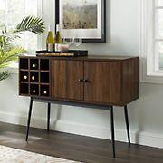"""W. Trends 42"""" Modern 2 Door Bottle Storage Bar Cabinet - Dark Walnut"""
