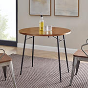 "W. Trends 36"" Modern Industrial Round Drop Leaf Dining Table - Dark Walnut"