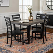 W. Trends 5 Piece Modern Farmhouse Distressed Solid Wood Slat Back Dining Set - Gray/Black
