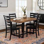 W. Trends 5 Piece Modern Farmhouse Distressed Solid Wood Slat Back Dining Set - Reclaimed Barnwood/Black