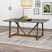 W. Trends Modern Farmhouse Solid Wood Trestle Dining Table - Gray/Brown
