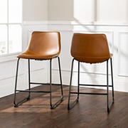 """W. Trends 26"""" Modern Industrial Faux Leather Counter Chair, Set of 2 - Whiskey Brown"""
