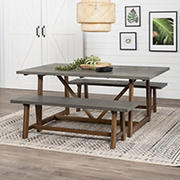 W. Trends 3 Piece Modern Farmhouse Solid Wood 2 Bench Trestle Dining Set - Gray/Brown