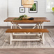 W. Trends 3 Piece Modern Farmhouse Solid Wood 2 Bench Trestle Dining Set - Reclaimed Barnwood/White Wash
