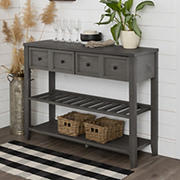 """W. Trends 48"""" Transitional Farmhouse Solid Wood 2 Drawer Buffet - Gray"""