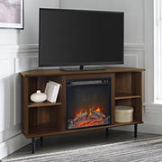 """W. Trends 48"""" Modern Boho Corner Electric Fireplace TV Stand for TVs up to 55 Inches - Dark Walnut"""