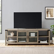 """W. Trends 70"""" Modern Farmhouse Metal X Glass Door TV Stand for TVs up to 80 Inches - Gray Wash"""