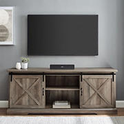 """W. Trends 70"""" Modern Farmhouse Sliding Barn Door TV Stand for TVs up to 80 Inches - Gray Wash"""