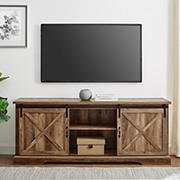 """W. Trends 70"""" Modern Farmhouse Sliding Barn Door TV Stand for TVs up to 80 Inches - Reclaimed Barnwood"""