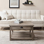 """W. Trends 30"""" Modern Farmhouse Square Single Drawer Coffee Table - Gray Wash"""