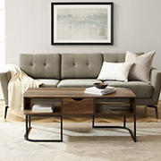"""W. Trends 44"""" Modern Curved Edge Single Drawer Coffee Table - Reclaimed Barnwood"""