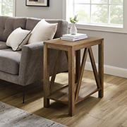 "W. Trends 48"" Modern Farmhouse Open Storage A-Frame Side Table - Reclaimed Barnwood"