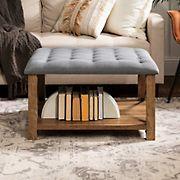 "W. Trends 30"" Modern Farmhouse Tufted Cushion Metal X Ottoman - Gray"