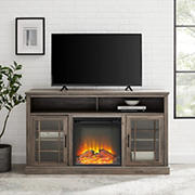 """W. Trends 58"""" Traditional Glass Door Electric Fireplace TV Stand for TVs up to 65 Inches - Gray Wash"""