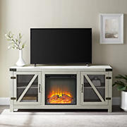 """W. Trends 58"""" Glass Barn FP TV Stand for TVs up to 65"""""""
