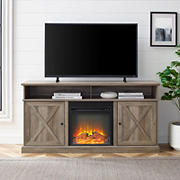 """W. Trends 60"""" Modern Farmhouse Tall Barn Door Electric Fireplace TV Stand for TVs up to 65 Inches - Gray Wash"""