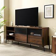 "W. Trends 70"" Urban Industrial Sliding Door Metal Mesh TV Stand for TVs up to 80 Inches - Dark Walnut"