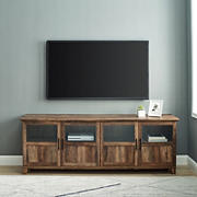 """W. Trends 70"""" Modern Farmhouse Glass and Wood Door TV Stand for TVs up to 80 Inches - Reclaimed Barnwood"""